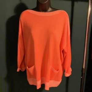 NWOT Chico's orange/coral double pocket top.